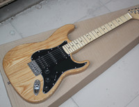 Wholesale electric guitar natural color online - Factory Natural Wood Color Electric Guitar with Black Pickguard ASH Body SSH Pickups Chrome Hardware Can be customized