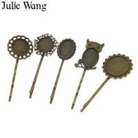 ingrosso forcelle antiche-Julie Wang Bronzo Antico Hairgrip Hairpin Impostazione Base vuota con vetro cabochon moda donna Hairwear Clip Barrette gioielli