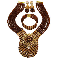 Wholesale jewelry wedding sets gold brown for sale - Group buy Fashion Brown Champagne Gold AB Crystal Beads Necklace African Jewelry Set Nigerian Wedding Party Jewelry Sets WDK06