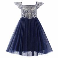 Wholesale golden dress kids for sale - Group buy Pettigirl Navy Blue Flower Girl Dresses Wedding Dresses For kids Golden Embroidery Girls Party Dresses GD50611