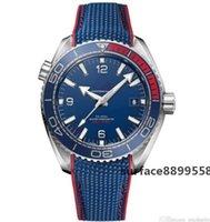 luxus blaue gesicht uhren großhandel-OM begrenzte Menge Luxusuhrmänner SEA MASTER blaues Gesicht Olympic Series Armbanduhr 522.32.44.21.03.001 Herrenuhren freies shippingHot