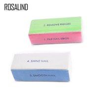 tırnak temizleme tamponu toptan satış-ROSALIND 1 ADET Nail Art Zımpara Dosya İpuçları Lehçe Tampon Blok Shiner Dosya 4 taraf Nail Art Parlatıcı Manikür