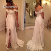 Wholesale chiffon strapless empire wedding dress for sale - Group buy Simple Chiffon Beach Wedding Dress with Lace Slit Strapless Off The Shoulder Long Ruched Sweep Train Empire Plus Size Wedding Gowns Cheap
