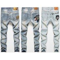 mens beunruhigte zerstörte jeans großhandel-Black Mens Designer Jeans 2019 Neue Mode Frühjahr Mens Distressed Denim Jogger Knielöcher Washed Destroyed Bike Jeans Größe 28-38