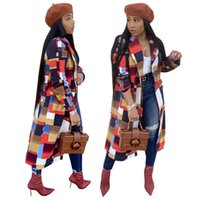 длинное пальто оптовых-мода плед печатных повседневная длинные пальто женщины отложным воротником полный рукав наружная осень зима кнопка вверх куртки пальто