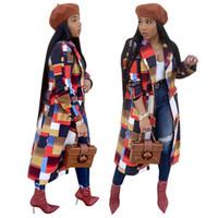 abrigo exterior largo al por mayor-A cuadros de moda impresos ocasionales largos abrigos mujeres bajan el cuello manga completa exterior otoño invierno botón hasta chaquetas abrigo