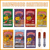 ingrosso atomizzatori piatti-Dabwoods Vape Cartridge Carts Pack 0.8ml 1.0ml Serbatoio ceramica Dab Wood Flat Tip Serbatoio 510 Thread Thick Oil Atomizer Bags Box