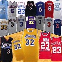 ingrosso pullover di pallacanestro stella-23 maglie MJ Allen Iverson 3 Julius Erving 6 tutte le 2019 stelle retrò maglie da basket di alta qualità