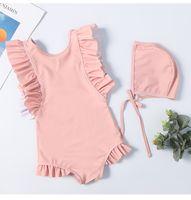 swimwear kid coreano venda por atacado-2019 crianças swimwear com bonés kid bikini ruffle designer swimsuit meninas roupas coreano bonito beach wear one-peças maiôs