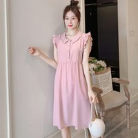 Wholesale korean maternity clothes for sale - Group buy 718 Sweet Korean Fashion Pink Maternity Dress Sleeveless Tank Ties Waist Slim Clothes for Pregnant Women Summer Pregnancy Wear