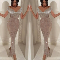 Wholesale short celebrities online - Deep V Neck Off Shoulder Prom Dresses Short Sleeves Beads Crystals Celebrity Party Dress Sheath Back Slit Women Formal Evening Gowns