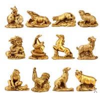 zodiac feng shui venda por atacado-Novo ++ A abertura doze zodíaco Feng Shui cobre ornamentos rato boi tigre coelho dragão cobra cavalo ovelhas macaco frango cão