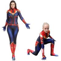 niños disfraces de superhéroes niñas al por mayor-Capitán Marvel Cosplay disfraces para niños Ropa de superhéroe para adultos Ropa de fiesta de una pieza para niños Ropa para niños SS81