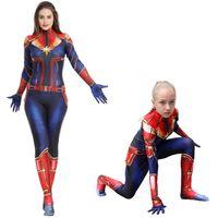 kaptan kostümleri toptan satış-Kaptan Marvel Cosplay Kostümleri Çocuklar Yetişkin Süper Kahraman Giysileri Kızlar için Tek Parça Parti Kostüm Çocuk Giyim SS81