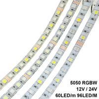 12v führte 24v ac großhandel-LED Streifen 5050 RGBW DC 12V / 24V Flexibles LED-Licht RGB + Weiß / RGB + Warmweiß 60 LED / m 96 LED / m 5m / lot