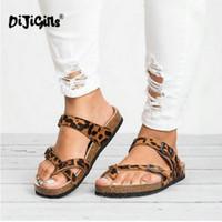 ingrosso scarpe da stampa rosa di leopardo-Pantofole da donna Scarpe casual da spiaggia estiva Pantofole piatte da stampa leopardate Pantofole da suola con suola in suola Fashion Flip Flops Drop Ship