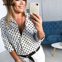ingrosso camicia collare polka dot-VIEUNSTA 2XL Mezza manica a pois stampa camicetta Donna estate risvoltata collo button Office Shirts Casual tasca cardigan Top