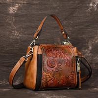 echtes leder blumenbeutel klein großhandel-Vintage Kleine Handtasche Frauen Echtes Leder Umhängetasche Damen Schultertasche Damen Umhängetasche Floral Style # 165039