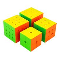 juego de cubos de juguetes al por mayor-Moyu Mofangjiaoshi 2x2 3x3 4x4 5x5 Competencia Magic Cube Set 4pcs Cubing Aula Velocidad Cubos Rompecabezas Juguetes para niños Q190530