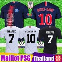Wholesale gold tribute online - 2019 PSG Notre Dame Soccer Jersey Thailand Third MBAPPE Ligue champions as club Paris tribute maillot de foot Football Shirt