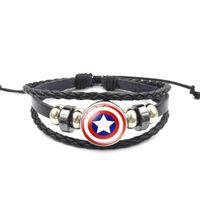 capitán américa joyería al por mayor-Hot Superhero Captain America Superman Vintage pulsera de cuero con cuentas tejida a mano
