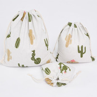 ingrosso borse bianche per l'estate-1Pc Shopping Bag Summer New Fashion Pink String Bag Fresh Cartoon Pattern fatto a mano in cotone stampato in lino bianco caldo