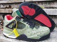 boule d'autruche achat en gros de-2019 nouvelle arrivée Jumpman IV 4 modèle d'autruche chaussures de basket-ball pour la qualité 4S Mens Green Trainers Sport Sneakers Taille 40-47