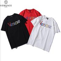 yeni marka stilleri gömlek oğlan toptan satış-Yeni tasarımcı kaliteli pamuk yeni VERSACE O-Boyun kısa kollu Tişört marka erkek ve kadın T-shirt moda stil spor T-s