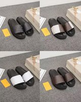 Wholesale eva slippers for men resale online - with Box Mens and Womens Luxury Fashion Designer Sandals Summer Slippers Leather Size Four Colors for Men Casual Business Shoes