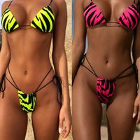 Wholesale waist bag patterns for sale - Group buy Explosion triangle bag swimsuit Zebra pattern bikini new hot leopard animal print lady system with swimming suit