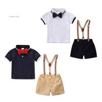 Wholesale kids boy korean t shirt resale online - Retail kids clothes tide boy Korean gentleman suit lapel bow tie t shirt strap shorts childrens boutique clothing