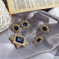 boucles d'oreilles collier de perles bleues achat en gros de-Nouveau style rétro incrusté encre bleu verre imitation perle broche collier en argent 925 boucles d'oreilles aiguille oreille clip convient à des femmes