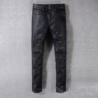 mens algodão motocicleta calças venda por atacado-Moda Mens Hetero Rasgado Calça Jeans Calças de Estiramento Motociclista Motocicleta Do Vintage Diário Zipper Algodão Motocicleta Denim Pant TTA623