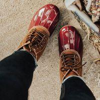gemischte schuhe boots groihandel-Winter Frauen Regen Stiefel Leopard Wasserdicht Mix Farben-Plattform-Platz Heel Lace Up Damen Schuhe Punk Schwarz Biker Botas Femininas
