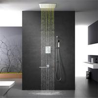 led-lichtleiste gesetzt großhandel-Thermostat Dusche Wasserhahn Set 64 Farben LED-Deckenleuchte Duschkopf Niederschlag poliert Dusche Massage Badezimmer Slide Bar Duschen