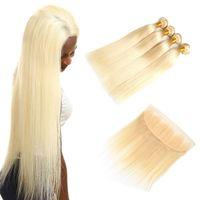 613 fermeture frontale blonde achat en gros de-613 cheveux raides paquets avec fermeture 4x13 frontale blonde cheveux humains droite avec dentelle frontale blonde cheveux raides vierge