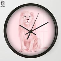 ingrosso orologi di fiori acrilici-Orologio da parete Art Chic Cartone animato Leone dolce per camera da letto Decorazioni da parete, Orologi da parete decorativi Quarzo decorativo Siva
