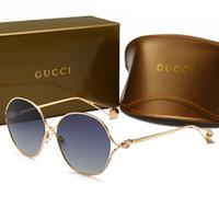 lentes de circulo gafas de sol al por mayor-Decoloración Lente de vidrio Gafas de sol Hombres Mujeres Círculo Gafas de sol Diseñador Gafas de alta calidad Espejo Goggle con caja marrón gafas de sol G0255