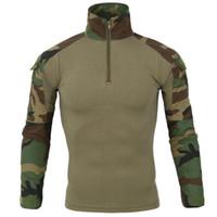 Wholesale tactical camo uniforms resale online - Tactical T Shirt Men Quick Dry Hiking Hunting Climbing Shirt Multicam Uniform Frog Field Combat Training Camo T Shirts