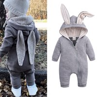 Wholesale infant boys rompers gray for sale - Group buy 4 colors Baby Lovely Rabbit Romper Kids Designer Clothes Infant Boys Girls Jumpsuits Rompers Toddler Bodysuit Headband Clothes