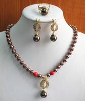 brincos de colar de coral vermelho venda por atacado-O noivado do casamento das mulheres bonitas de Prett! Atacado das Mulheres 8mm café e pérola vermelha Colar brinco anel (7/8/9) conjunto de jóias # 24