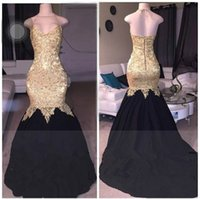 Wholesale white backless summer dresses online - Charming Gold Applique Halter Mermaid Long Prom Dresses Pageant Taffeta Sleeveless African Evening Vestido de noche Formal Long Party Gowns