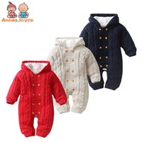 Wholesale thick rompers for sale - Group buy Thick Warm Infant Newborn Baby Boy Girl Knitted Sweater Jumpsuit Hooded Kid Toddler Outerwear Baby Rompers Winter Clothes J190425