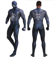 campanas de lycra spandex al por mayor-Venom Spiderman Cosplay Disfraz de superhéroe de la película original en 3D SuperMan FullBody Zentai Suit Hood Separated