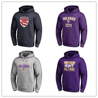 hoodies roxo dos homens venda por atacado-18 19 mls cidade de orlando em casa hoodies de futebol roxo mens jaquetas moda outerwear preto fãs tops com capuz frete grátis impresso logos