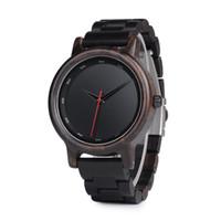 Wholesale custom logo watches online - Vintage Male High Quality wrist Watch Ebony Wooden Watches Men in gift box custom logo erkek kol saati