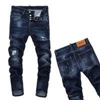 mavi dar pantolon toptan satış-PHILIPP PLEIN DSQUARED2 DSQ2 D2  Yeni 2019 Adam Denim Yırtık Kot Yırtık Mavi Pamuk moda Sıkı ilkbahar sonbahar erkek pantolon A7912