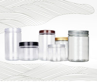 Wholesale 250ml ml Transparent Small Plastic PET Jars With Aluminum Lid Clear Empty Cosmetic Sample Jar With Lid In stock