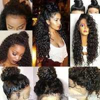 moda perucas cabelo humano venda por atacado-Fio de alta temperatura Perucas Moda Feminina Pré Arrancado Peruano Virgem Do Cabelo Humano 360 Rendas Frontal Perucas Onda Peruca Cheia