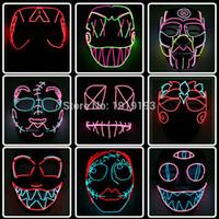 pvc karikaturmaske großhandel-Billig! Cartoon Figur Led Neon Halloween Party Maske Geburtstag Urlaub Licht El Kaltlicht Fluoreszierende Cosplay Maske